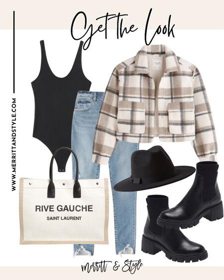 Abercrombie outfit inspiration plaid jacket fall transition staples Nsale picks combat boot outfit idea designer bag   #LTKshoecrush #LTKsalealert #LTKitbag
