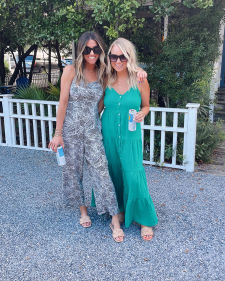 I'm wearing xs in this old navy jumpsuit. Heather is wearing small in her Target maxi.  Code JEN15 on our sandals.     @liketoknow.it http://liketk.it/3jYP4 #liketkit #LTKtravel #LTKunder50  Beach vacation.