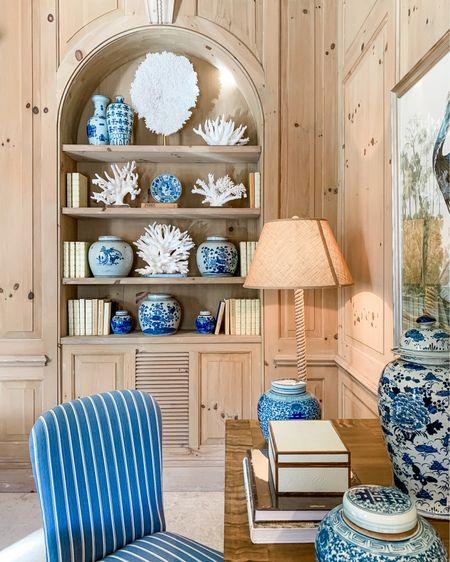 Coastal blue and white decor with coral and ginger jars #LTKhome #LTKstyletip #LTKunder100 http://liketk.it/3eBre #liketkit @liketoknow.it