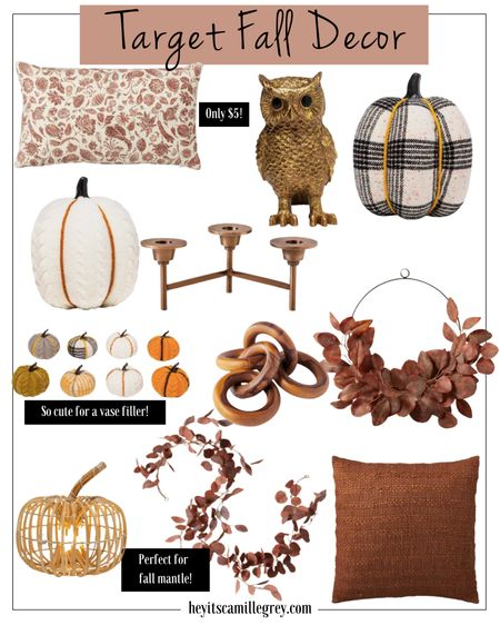 Target Fall Decor - Hearth and Hand, Studio McGee. These are pieces perfect for fall time and for halloween decor too. Pumpkins, pillows, owl, candelabra, rusted eucalyptus garland and wreath, wood chain figurines. Everything under $30!   #LTKstyletip #LTKunder50 #LTKhome