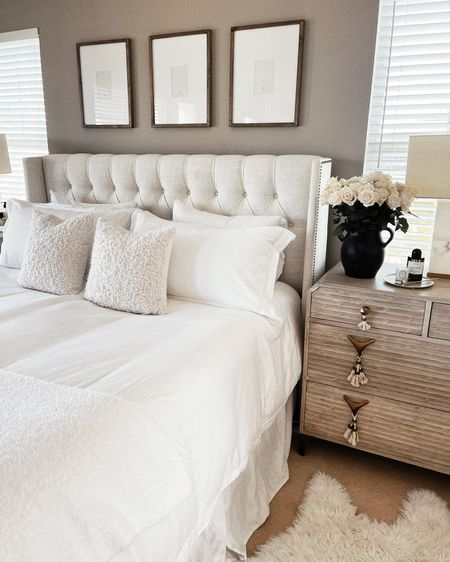 Master bedroom, white bedding, nightstand accessories, neutral home decor. StylinAylinHome   #LTKstyletip #LTKunder100 #LTKhome