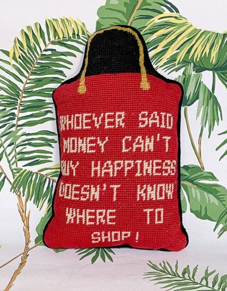 I love needlepoint pillows with ironic quotes. So hilarious and adds interest to your living room sofa.   #needlepointpillow   #LTKhome #LTKstyletip