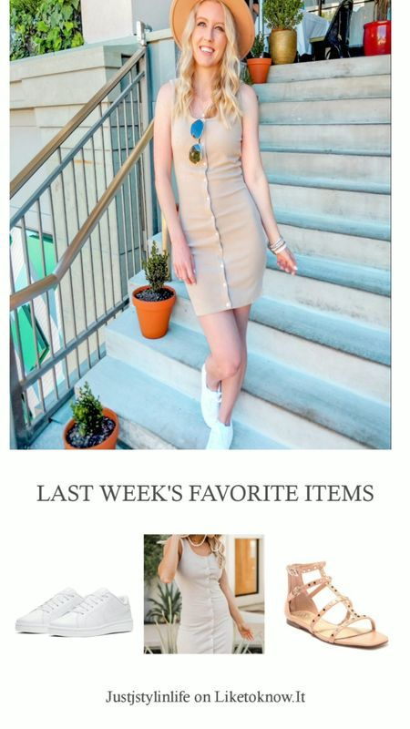 Last week's favorites. All white Nike sneakers, beige button down summer dress, tan stud sandals. Summer look, casual outfit, square toe, tank dress, fitted dress, Pink Lily Boutique. http://liketk.it/3fyfD @liketoknow.it #liketkit #LTKunder50 #LTKunder100 #LTKshoecrush #LTKtravel