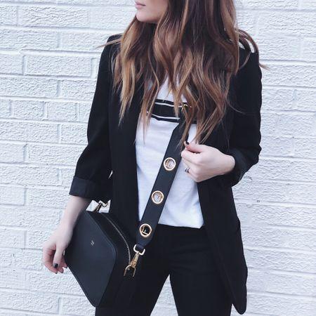 Black and white, a blazer and a tee. #favorites http://liketk.it/2zQKQ #liketkit @liketoknow.it #LTKunder100 #LTKitbag #LTKunder50