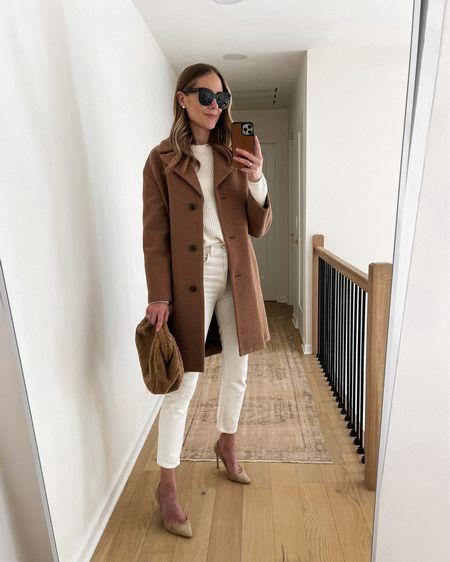 Camel coat, white sweater, white jeans, nude pumps, #falloutfits #camelcoat #sweaters   #LTKstyletip #LTKworkwear #LTKsalealert