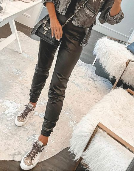 Obsessed with these faux leather joggers and these chic sneakers BOTH part of the NSALE! These joggers run tts, I'm wearing  an XS. @liketoknow.it #liketkit http://liketk.it/3jGP4 Shop my daily looks by following me on the LIKEtoKNOW.it shopping app  Follow my shop on the @shop.LTK app to shop this post and get my exclusive app-only content!  #liketkit #LTKunder100 #LTKunder50 #LTKstyletip @shop.ltk http://liketk.it/3jGP4