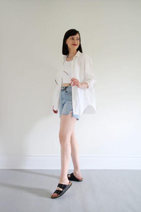 Style Theme - Shorts - Look 7  Shirt - Everlane - TTS Crop tank - Free.Label Dee denim Shorts - Agolde - TTS Arizona Birkenstock's - TTS Sunnies - Madewell