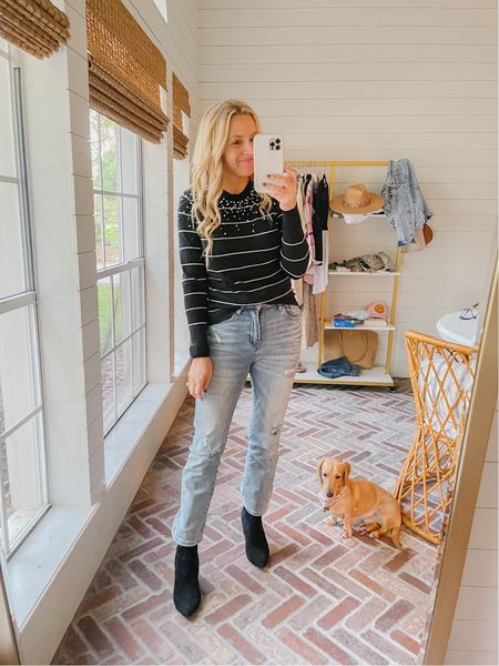Loving this pearl and striped sweater from Gibsonlook! Use code FANCY15 for 15% off! This pair of booties from Walmart is such a fave, too!  #LTKsalealert #LTKunder100 #LTKstyletip
