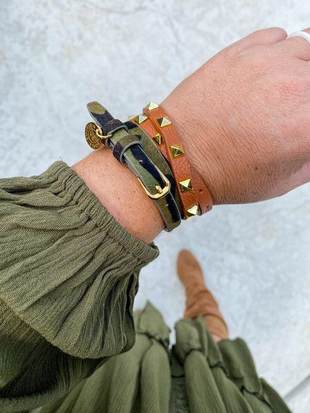 Victoria Emerson Camo Wrap Bracelet | Studded Wrap Bracelet  Fall Accessories Fall Styles Women's Accessories Victoria Emerson   #LTKstyletip #LTKworkwear #LTKSeasonal