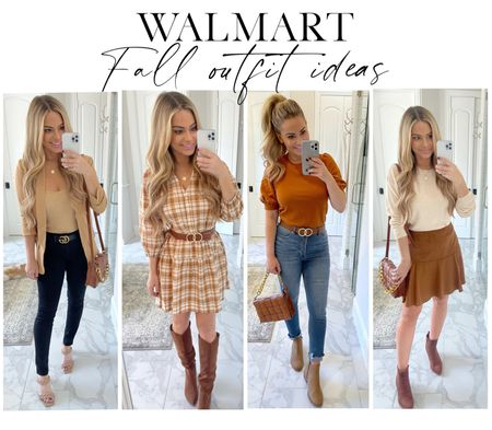 Fall fashion from @Walmart!  #ad #walmartfashion @walmartfashion  Jeans, puff sleeve top, blazer, plaid dress, suede skirt, knee high boots   #LTKshoecrush #LTKSeasonal #LTKstyletip
