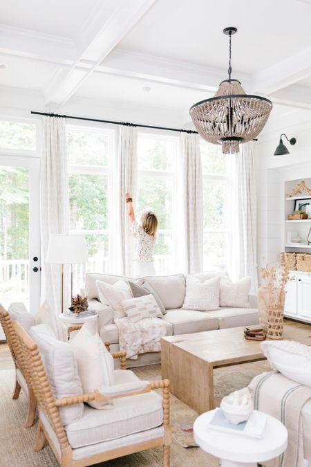 Light and bright living rooms are perfect for summer! Opening up these curtains to brighten up your Monday! http://liketk.it/3fXqm  #liketkit @liketoknow.it #LTKhome #livingroom #naturallight #lightandbright #neutraldecor