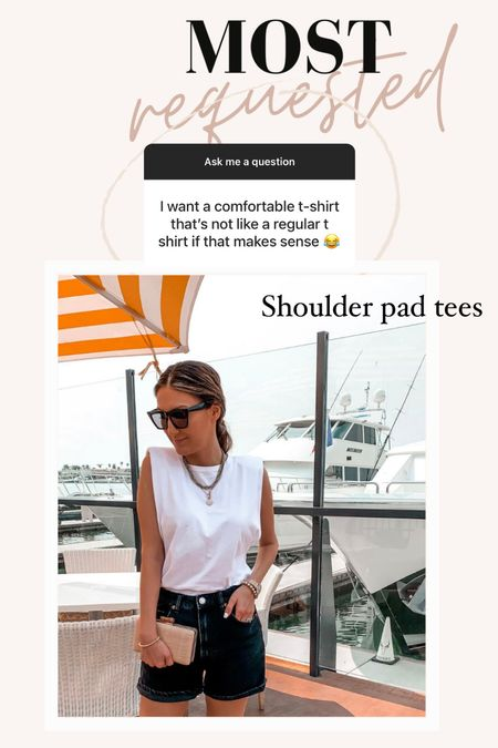Shoulder pad T-shirt  Tees  T-shirt  Basics  Summer outfit   Follow me on my IG @drluxy for more outfit inspo     #LTKunder50 #LTKstyletip #LTKtravel