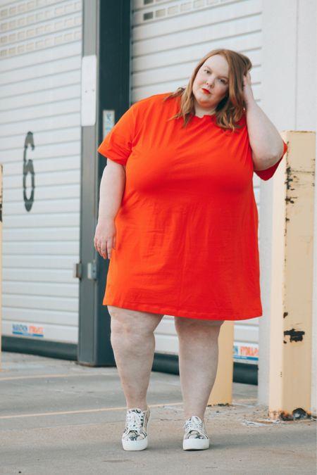 T-shirt dress, spring style, plus size spring dress, orange dress, target style   #LTKSeasonal #LTKunder50 #LTKcurves
