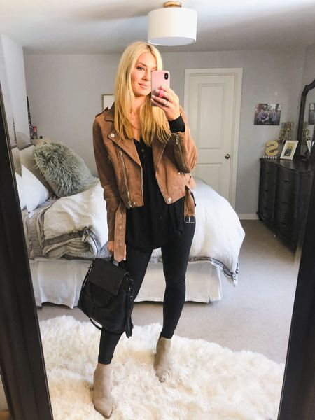 Spanx on sale and at a low low price! Best time of year to snag them. I wear my true size but a lot of women like to size up one. Jacket is a Large and comes in a gorgeous grey. Booties size up 1/2. Tunic size down one   #LTKstyletip #LTKunder50 #LTKsalealert