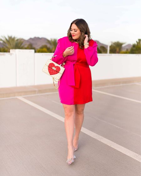 pink and red dress for Valentine's Day ❤️💗 i'm wearing the size xl! #liketkit @liketoknow.it http://liketk.it/3703t #LTKVDay #LTKcurves #LTKunder100