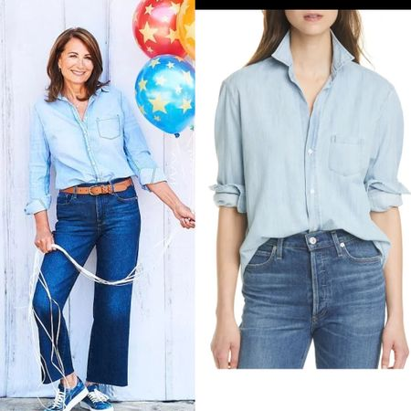 Carole inspired chambray shirt #denim #jeans #mom #casual #garden #backyard   #LTKstyletip #LTKhome