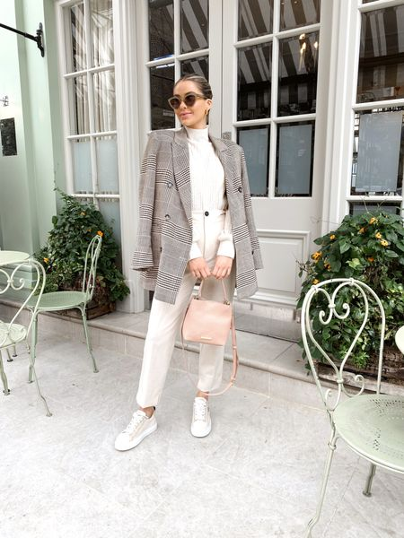 Neutral outfit, blazer, smart trousers