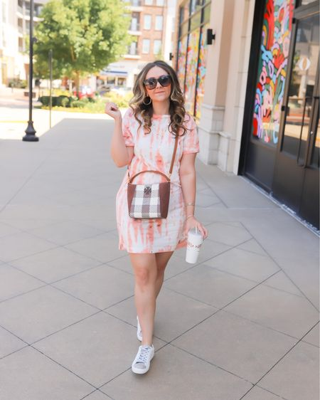Fall uniform: tshirt dress + sneakers. Dress is slightly oversized (I'm wearing a small) and under $11. Star sneakers with glitter shoes laces fit TTS and are 20% off tonight! Perfect midsize look!   Affordable //  budget style // Target finds  #LTKstyletip #LTKsalealert #LTKunder50