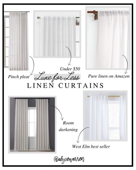Linen curtains, pinch pleat curtains, bedroom inspiration, living room, home decor, West Elm inspired   #LTKhome