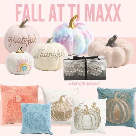 LOVE these fall decor pieces from TJ Maxx! These pumpkin pillows have beautiful beadwork, and the pumpkins have such fun colors! #tjmaxx #falldecor #pumpkin #pillow #home  #LTKSeasonal #LTKhome #LTKunder50