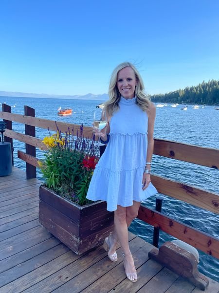 Blue skies and a full heart 💙 Special family dinner st one of our Tahoe favorites,  Gar Woods   I've gotten so many compliments on this pale blue gauze beauty from Tuckernuck every time I've worn it. Fits TTS. The clear and cork sandals have been a best seller for four months! Also fit TTS.     #LTKstyletip #LTKtravel #LTKshoecrush
