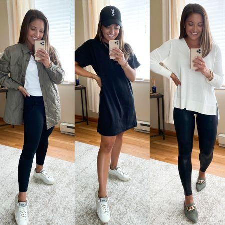 Nordstrom anniversary sale finds!! Spanx faux leather leggings. Shacket. P448 sneakers. Tshirt dress. Mules.   #LTKsalealert #LTKstyletip #LTKshoecrush