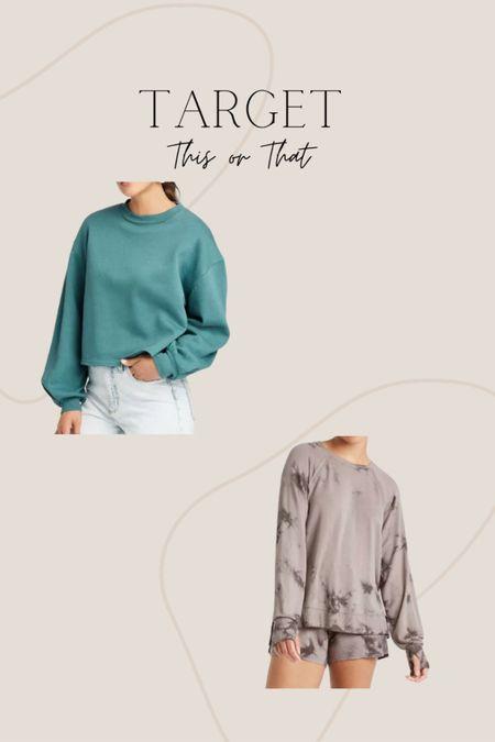 Target this or that, solid print sweatshirts or tie dye loungewear! #liketkit @liketoknow.it  #LTKSeasonal #LTKfit #LTKstyletip