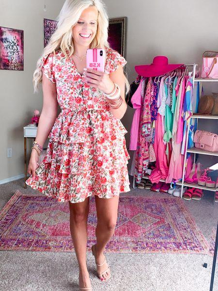 Walmart dress size M Floral dress, wedding guest dress, work dress, summer dress, vacation dress, baby shower guest dress  Pink bracelet stack White bracelet stack Nude strap or heels TTS  Walmart fashion http://liketk.it/3h441 #liketkit @liketoknow.it #LTKunder50 #LTKwedding #LTKworkwear