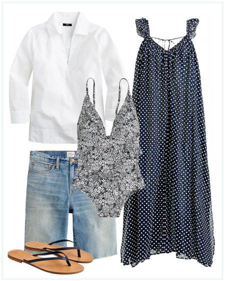 beach outfit, beach coverup, beach dress, vacation dress, swim, one piece, jean shorts. http://liketk.it/3hPEw #liketkit @liketoknow.it #LTKtravel #LTKstyletip #LTKswim @liketoknow.it.family @liketoknow.it.home