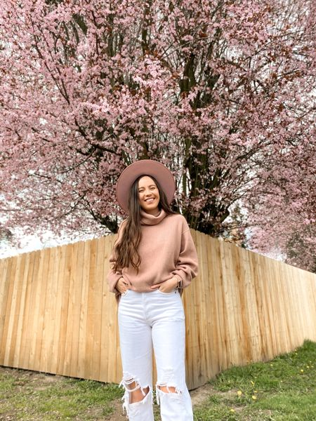 Casual spring outfit with Agolde 90s white jeans, Lack of Color rancher hat, & Free People sweater. Pink outfit 🌸  @liketoknow.it http://liketk.it/3b3lg #liketkit #LTKtravel #LTKstyletip
