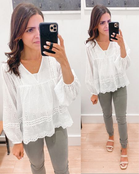 American Eagle try on // embroidered eyelet blouse (xs), pull on jegging joggers (size up for looser fit) http://liketk.it/3hF8w #liketkit @liketoknow.it #LTKstyletip