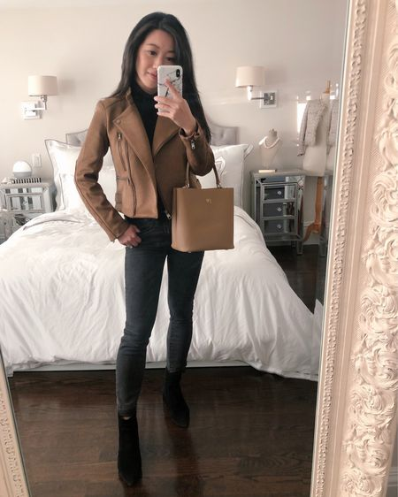 50% off this Banana republic jacket in xs petite (beautiful quality, walnut color and runs small! I'm 5' tall 105 lb and this is fitted on me). H&M turtleneck xs, everlane jeans 25 ankle. Karl Lagerfeld booties, TDE bag with monogram. http://liketk.it/30SvD #liketkit @liketoknow.it #ltksalealert #ltkunder100 #ltkstyletip #petite