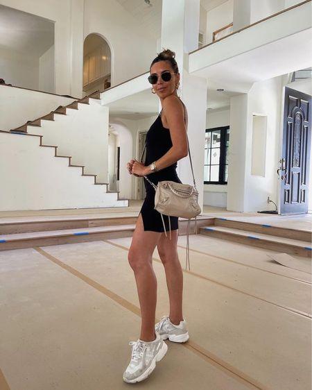 black dress and sneakers #dress #sneakers