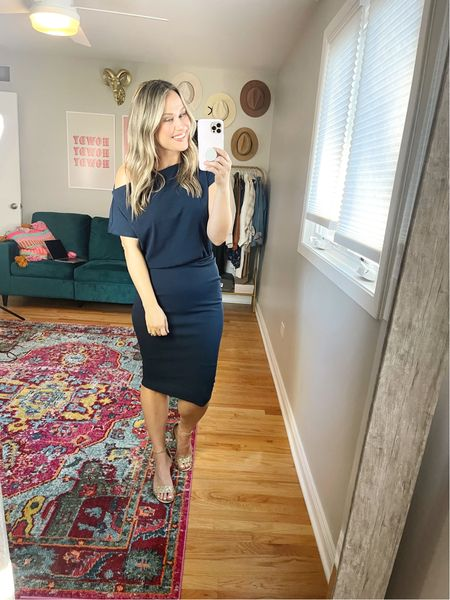 Fall Dress // This midi dress is a great casual wedding guest dress for fall, paired this dress with the cutest glitter heels. Wearing a size small in this dress.  #LTKunder50 #LTKwedding #LTKshoecrush