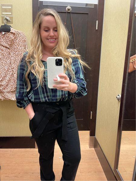 Workwear, office outfit, back to work, business casual, kohl's, black pull on pants, paperbag waist, plaid, Nine West  #LTKunder50 #LTKworkwear #LTKstyletip