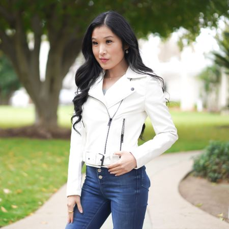 White moto jacket! Take this cool vibe into summer paired with your favorite blue jeans!   #LTKSeasonal