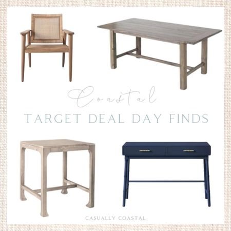 Target Deal Days is running through tomorrow (Tue, 10/12) and there are some great furniture pieces at a great price! This wood and cane accent chair, ($138), dining table ($165), Studio McGee end table ($55) and navy writing desk ($93.50) are among my favorites! - Target deal days, Target home, Target finds, Target decor, Target home decor, Target furniture, navy desks, side chair, accent chair, coastal chair, cane furniture, Studio McGee furniture, rustic dining room table, gray dining table, affordable dining table, coastal end table, end tables on sale, coastal side table, living room furniture, bedroom furniture, office furniture, dining room furniture, home decor, coastal decor, beach house decor, beach house furniture, beach decor, beach style, coastal home, coastal home decor, coastal decorating, coastal interiors, coastal house decor, beach style, blue and white home, blue and white decor, neutral home decor, neutral home, natural home decor  #LTKhome #LTKunder100 #LTKsalealert