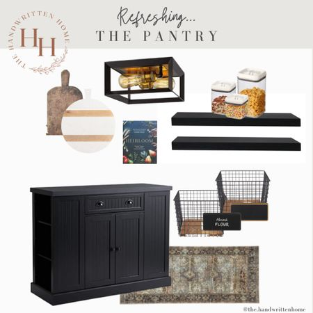 Pantry Design  Moody cabinets with floating shelves make a big statement in a kitchen.   If you lack a pantry, consider using a free standing island or cabinet against a near by wall.  Black kitchen   pantry organization   kitchen organization   baskets   canisters   floating shelves   open shelving   vintage cutting boards  #LTKhome #LTKstyletip #LTKfamily
