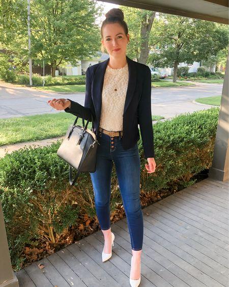 http://liketk.it/3gFEz #liketkit @liketoknow.it #LTKworkwear work wear, business casual, real estate, realtor outfit, wear to work, blazer with jeans, white heels