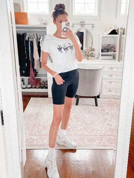 Late summer outfit with biker shorts and a shein tee, white sneakers   #LTKunder50 #LTKunder100 #LTKshoecrush