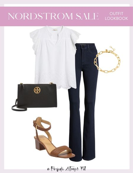 These boot cut jeans look like a perfect pair of work pants that could also go into a night out! I would wear them with heels underneath and a really fun blouse. This white blouse is a great transition piece from summer to fall! And you can't go wrong with a good chunky bracelet!  #LTKsalealert #LTKstyletip