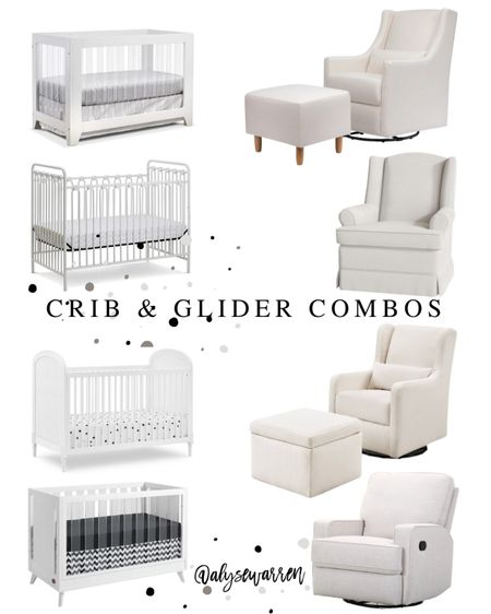 Crib and glider combos for any nursery!   Acrylic crib, iron crib, cane, swivel glider, storage ottoman, nursery furniture, gender neutral, baby registry checklist, Wal-Mart finds    #LTKbaby #LTKhome #LTKbump