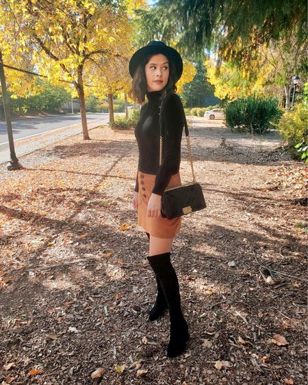 One of my favorite fall outfits 💛 A faux suede skirt, over the knee boots, and a fedora are versatile pieces for this season. These Goodnight Macaroon boots stay up over my knees and are super comfy! Casual chic style. Fall style. Fall Inspo. Fall outfit. LTKFall   #LTKshoecrush #LTKSeasonal #LTKstyletip
