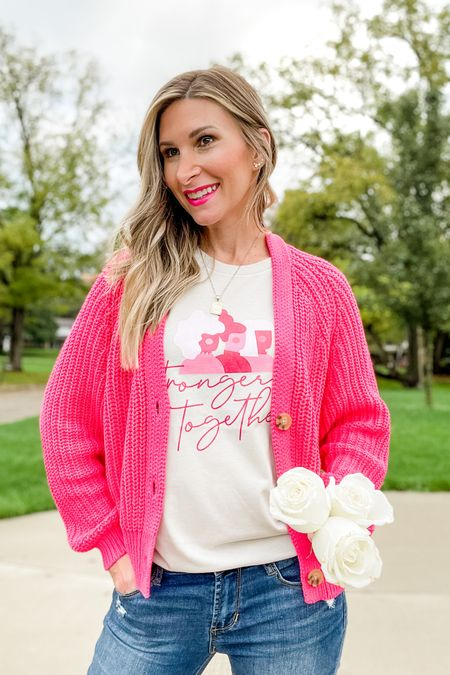 10% of all sales sitewide for the Pink Lily Boutique will go towards the National Breast Cancer Foundation on 10/10. On October 10-17th, 100% of the sales from this Stronger Together tee will be donated to the foundation.   #LTKsalealert #LTKunder50 #LTKSeasonal