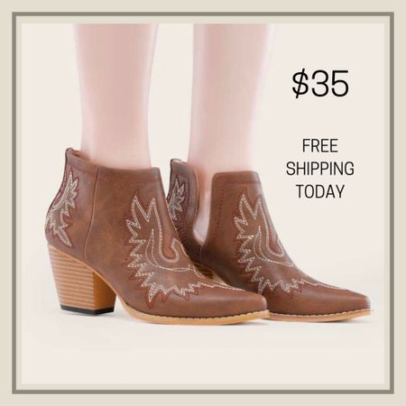 Embroidered chunky heeled boots  #LTKshoecrush #LTKstyletip #LTKunder50