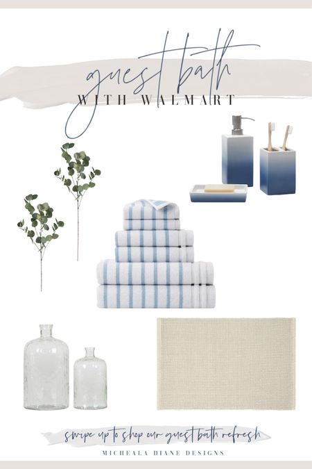 Guest Bathroom neutrals with blue and white stripes and eucalyptus.   #LTKhome