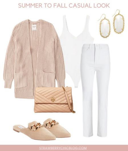 Summer to fall casual look- jeans with a bodysuit paired with a cardigan and mules   #LTKshoecrush #LTKstyletip #LTKSeasonal