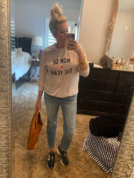 Saturday ready… . Sports, shopping, lunch, errands… this Look has you covered✔️ . Jeans $59 high rise and straight leg cropped distressed hem, stretchy TTS . . #newbalance #kicks #distressjean #denimtrend #strightleg #saturdaystyle #momofyear #shopsocialthread   #LTKshoecrush #LTKstyletip #LTKunder100