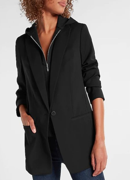 Loving this blazer with hoodie attached. I bought a size XS to layer underneath. Paired with joggers and jeans for a chic casual style.   Black blazer, blazer, casual style, bodysuit, how to style, The Stylizt   #LTKSale #LTKstyletip