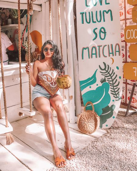I Love Tulum so matcha 💛💛 Definitely one of my favorite parts about this trip was staying hydrated with daily dose of coconut water 💦🥥 . . Shop the look 1️⃣ http://liketk.it/3etR9  2️⃣ link in bio   #liketkit #LTKunder50 #LTKstyletip #LTKsalealert @liketoknow.it